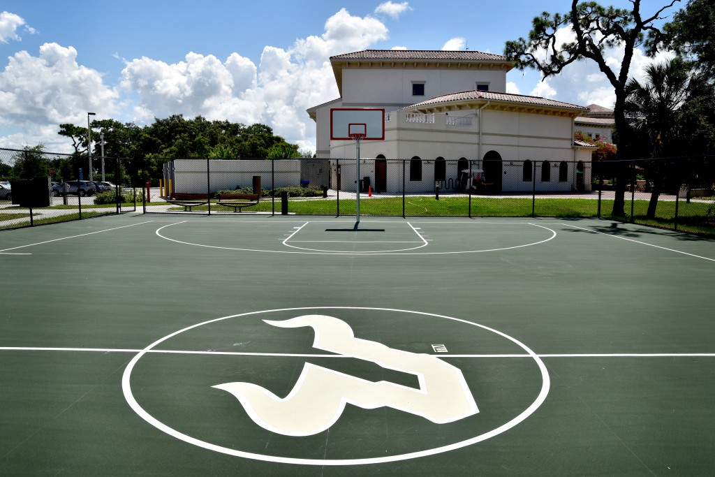 Workers finished USFSM's basketball court Thursday afternoon.